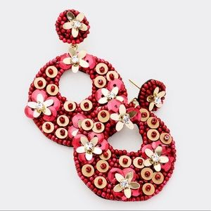 Cut Out Round Sequin Floral Bead Earrings